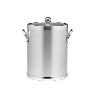 Americano 5 Qt. Brushed Chrome Ice Bucket and Lid, Metal Side Handles