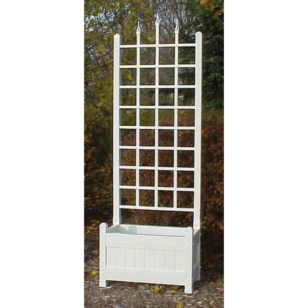 80 in. H x 28 in. W White Vinyl Camelot Planter