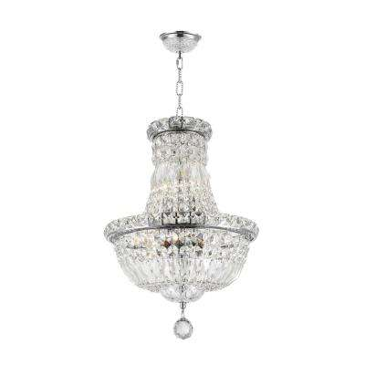 Empire Collection 6-Light Polished Chrome Chandelier with Clear Crystal
