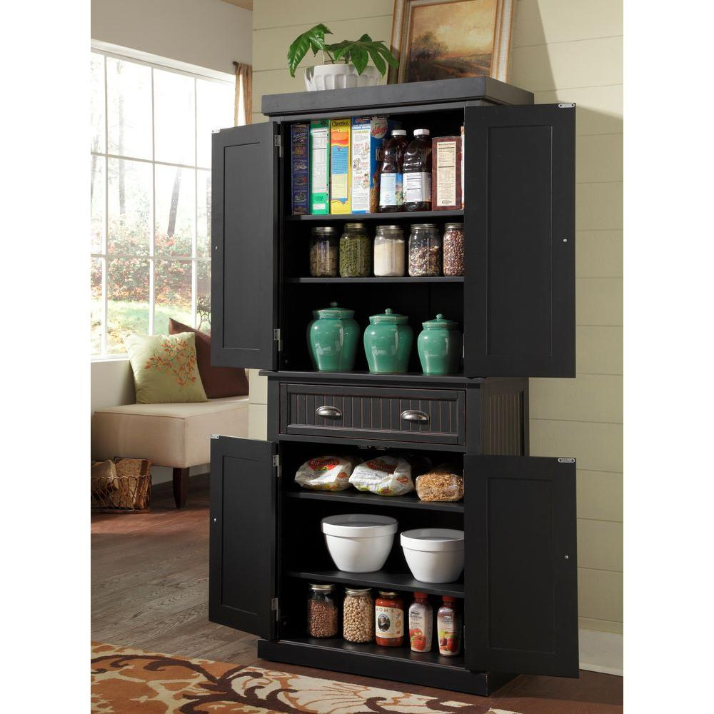 Home Styles Nantucket Distressed Black Food Pantry