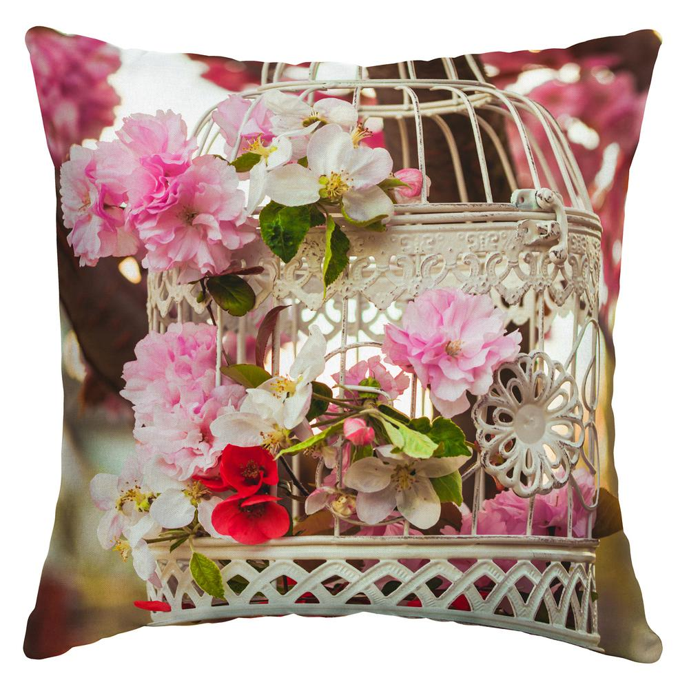 Floral Birdcage Square Outdoor Throw Pillow