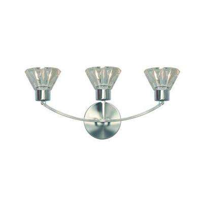Decorative 3-Light Satin Nickel Wall Sconce, Ideal for Vanity Applications