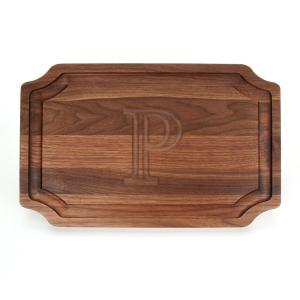 Selwood 1-Piece Walnut Cutting Board with Carved P by
