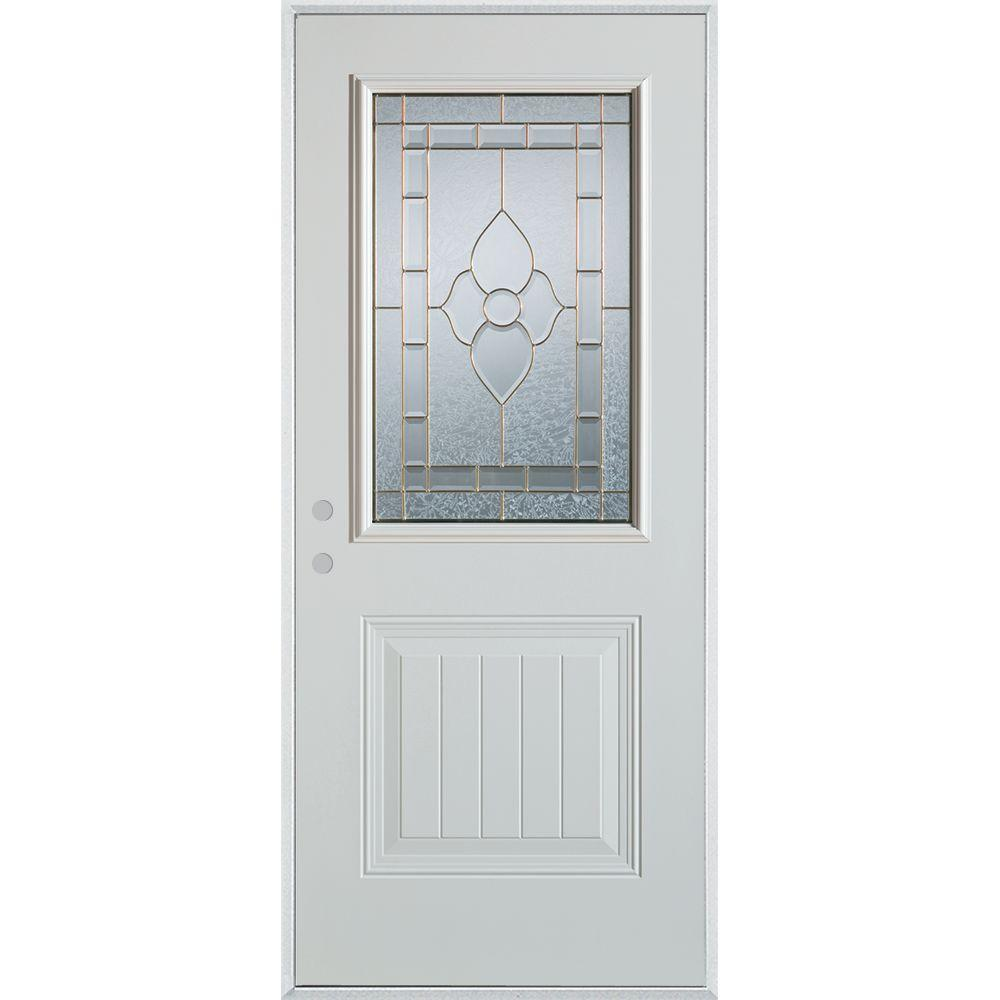 Stanley Doors 32 in. x 80 in. Traditional Patina 1/2 Lite 1-Panel Painted White Right-Hand Inswing Steel Prehung Front Door