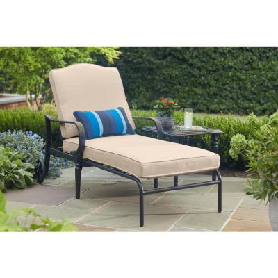 Laurel Oaks Brown Steel Outdoor Patio Chaise Lounge with CushionGuard Putty Tan Cushions
