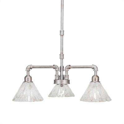 3-Light Aged Silver Chandelier with Clear Glass Shade