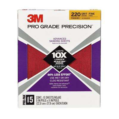 Pro Grade Precision 9 in. x 11 in. 220 Grit Fine Advanced Sanding Sheets (15-Pack)