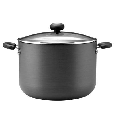 Classic 10 qt. Hard-Anodized Aluminum Nonstick Stock Pot in Black with Glass Lid