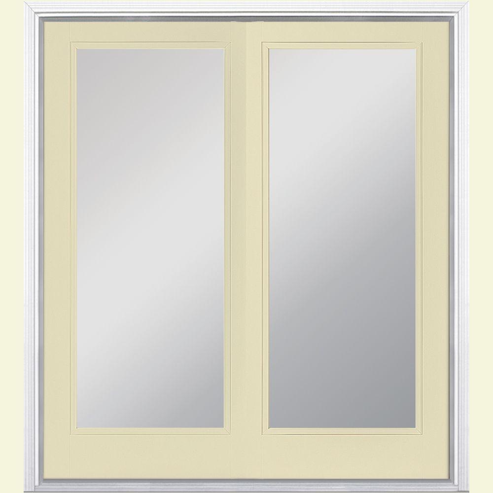 Masonite 60 in. x 80 in. Golden Haystack Prehung Right-Hand Inswing Full Lite Steel Patio Door with Brickmold