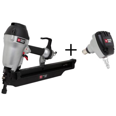 Pneumatic 21-Degree 3-1/2 in. Full Round Framing Nailer with 0-Degree Mini Impact Palm Nailer