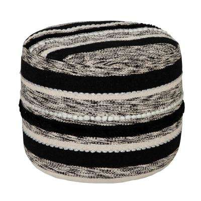 Ombre Design 18 in. x 14 in. Striped Black / White Ottoman Pouf