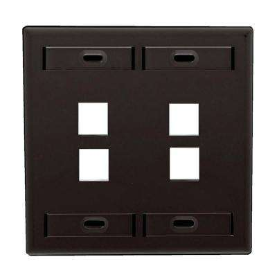 2-Gang Quickport Standard Size 4-Port Wallplate with ID Windows, Black