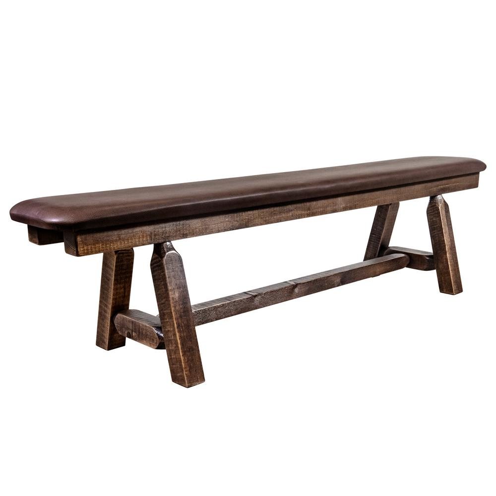 Homestead Collection 18 in. H Brown Wooden Bench with Saddle Pattern Upholstered Seat, 6 ft. Length