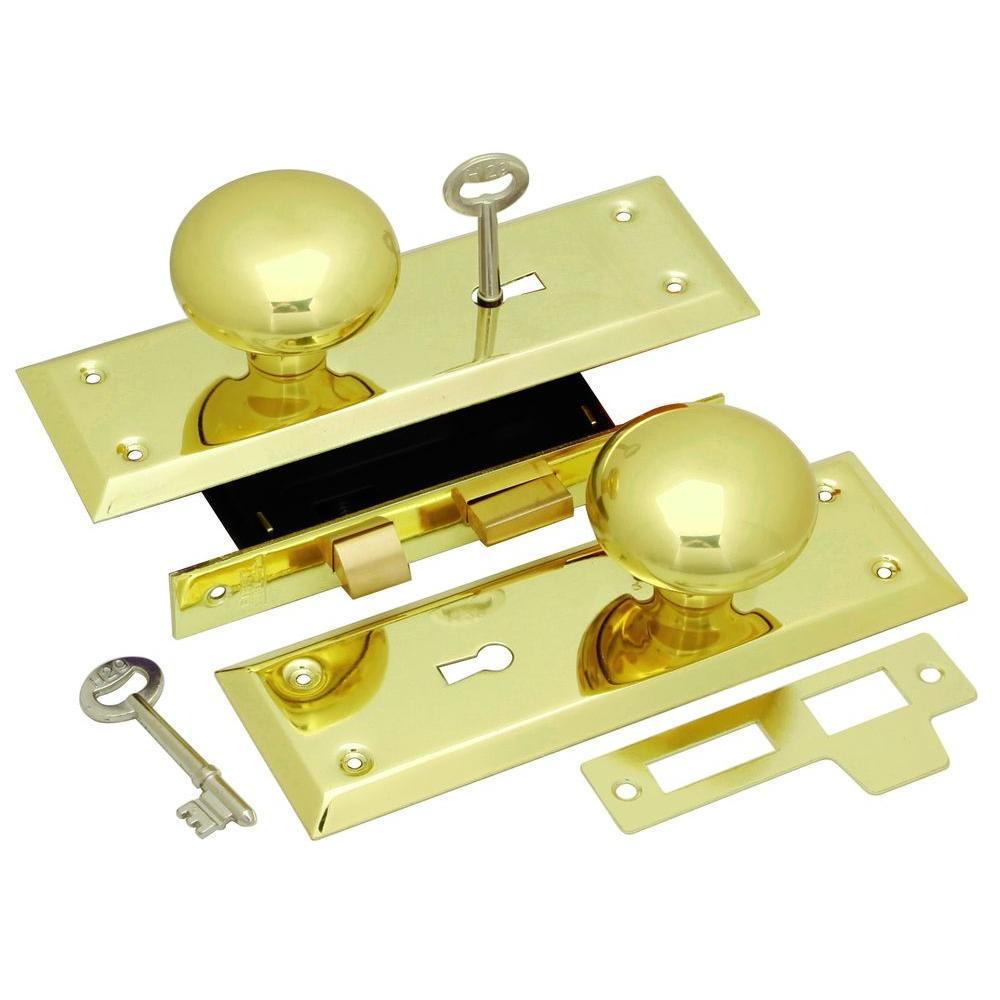Polished Brass Keyed Knob Mortise Lockset