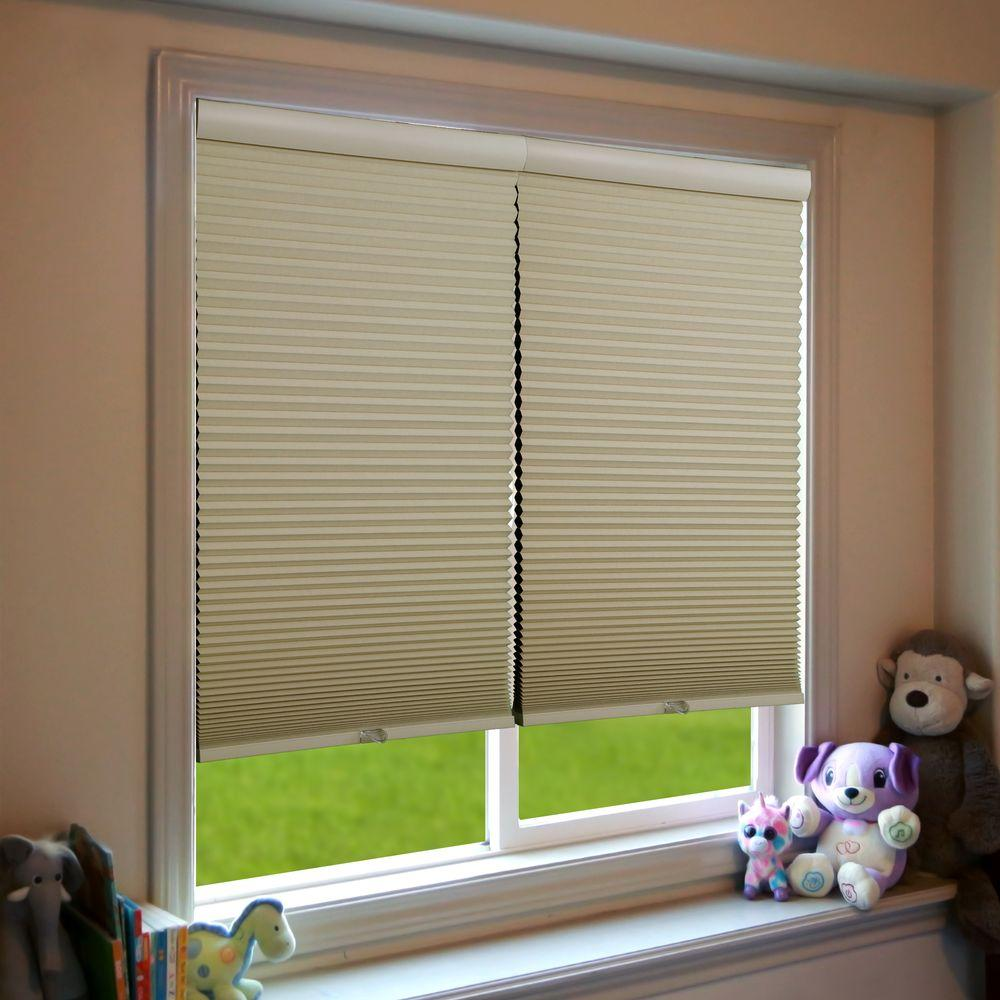 Perfect Lift Window Treatment Khaki (Green) Cordless Blackout Cellular Shade - 67.5 in. W x 72 in. L