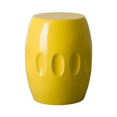 18 in. Orion Yellow Ceramic Garden Stool