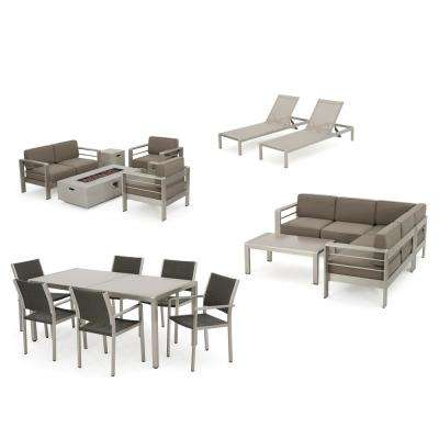 Cape Coral 18-Piece Metal and Wicker Patio Fire Pit Dining, Lounge, Sectional and Conversation Set with Khaki Cushions