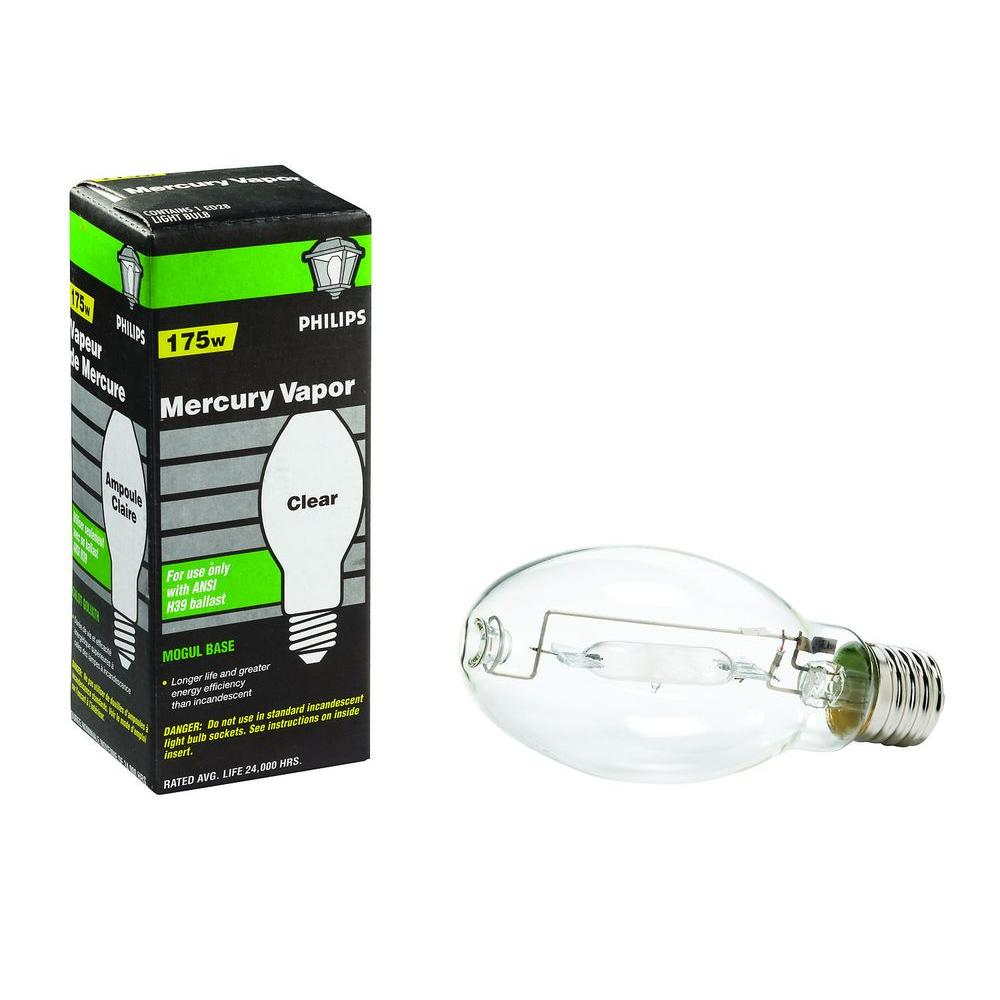 Philips 175 Watt Ed28 Mercury Vapor High Intensity Discharge Hid Light Bulb 140798 The Home Depot