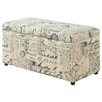 Vintage French Fabric Ottoman with Storage