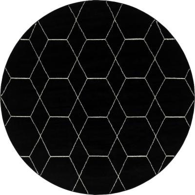 Trellis Frieze Black/Ivory 8 ft. x 8 ft. Round Geometric Area Rug