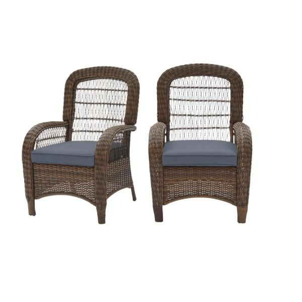 Beacon Park Brown Wicker Outdoor Patio Captain Dining Chair with CushionGuard Steel Blue Cushions (2-Pack)