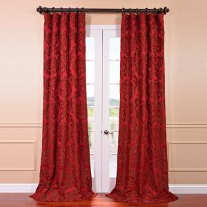 Exclusive Fabrics & Furnishings Astoria Red and Bronze Faux Silk Jacquard Curtain Panel -... by Exclusive Fabrics & Furnishings