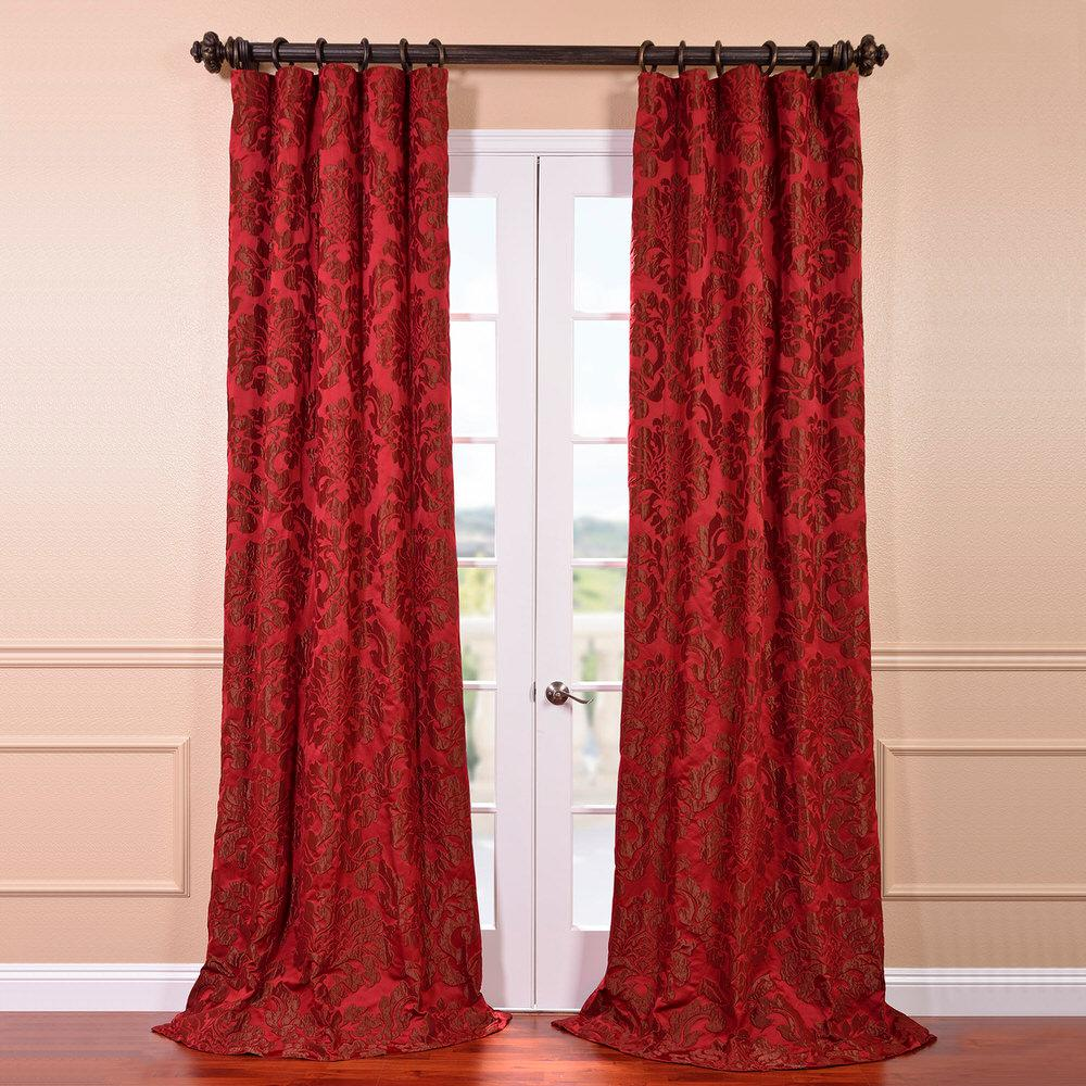 Astoria Red and Bronze Faux Silk Jacquard Curtain Panel - 50
