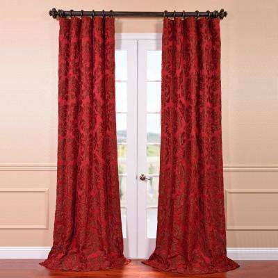 Astoria Red and Bronze Faux Silk Jacquard Curtain Panel - 50 in. W x 120 in. L