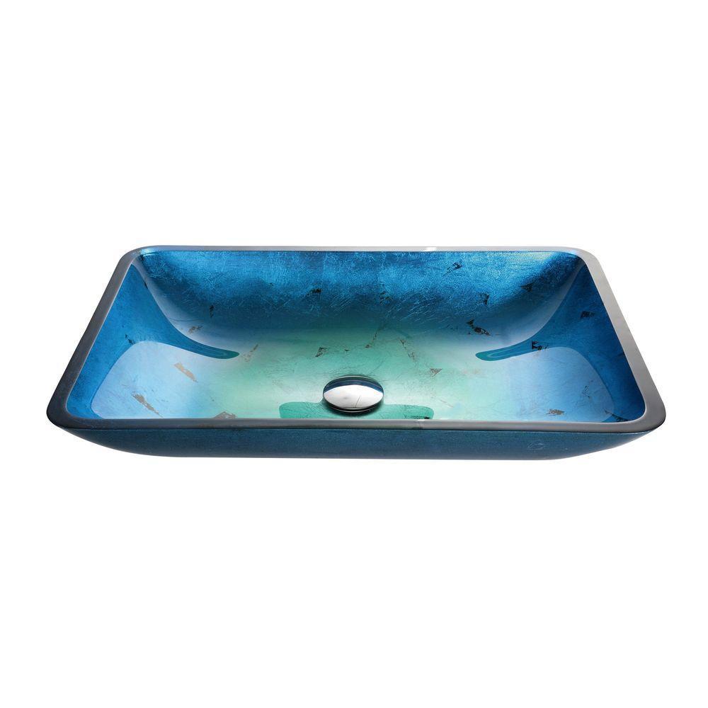 Irruption Rectangular Glass Vessel Sink in Blue