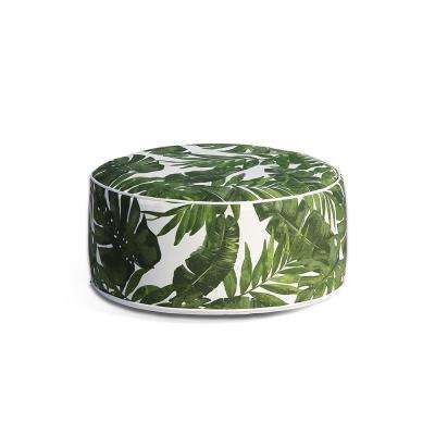 Marlowe Tropical Green Oxford Polyester Outdoor Ottoman