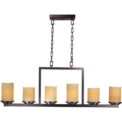 Luminous 6-Light Rustic Ebony Chandelier