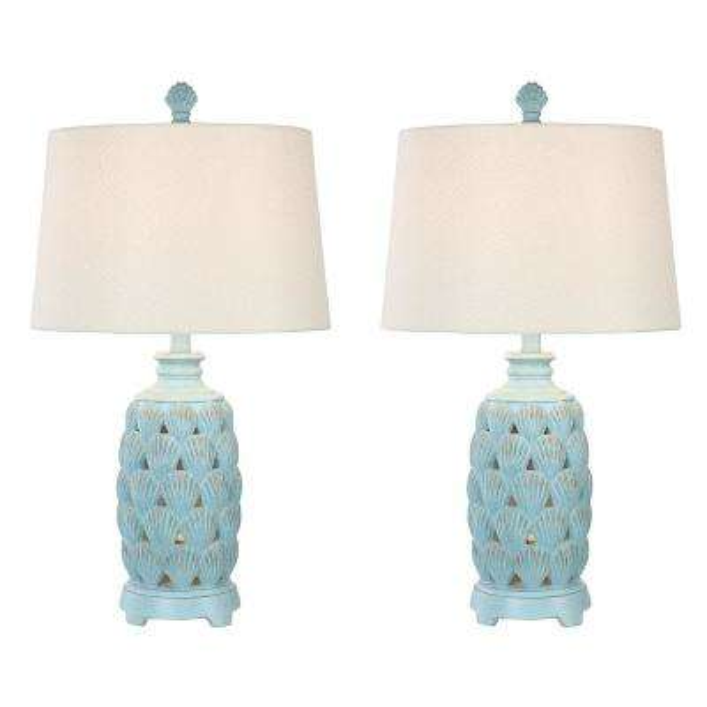 25 in. Glacier Blue Indoor Table Lamp Set
