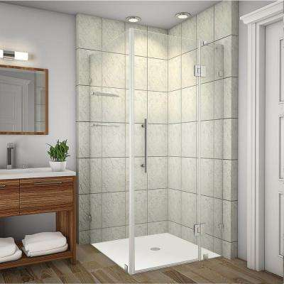 Avalux GS 34 in. x 32 in. x 72 in. Completely Frameless Shower Enclosure with Glass Shelves in Stainless Steel