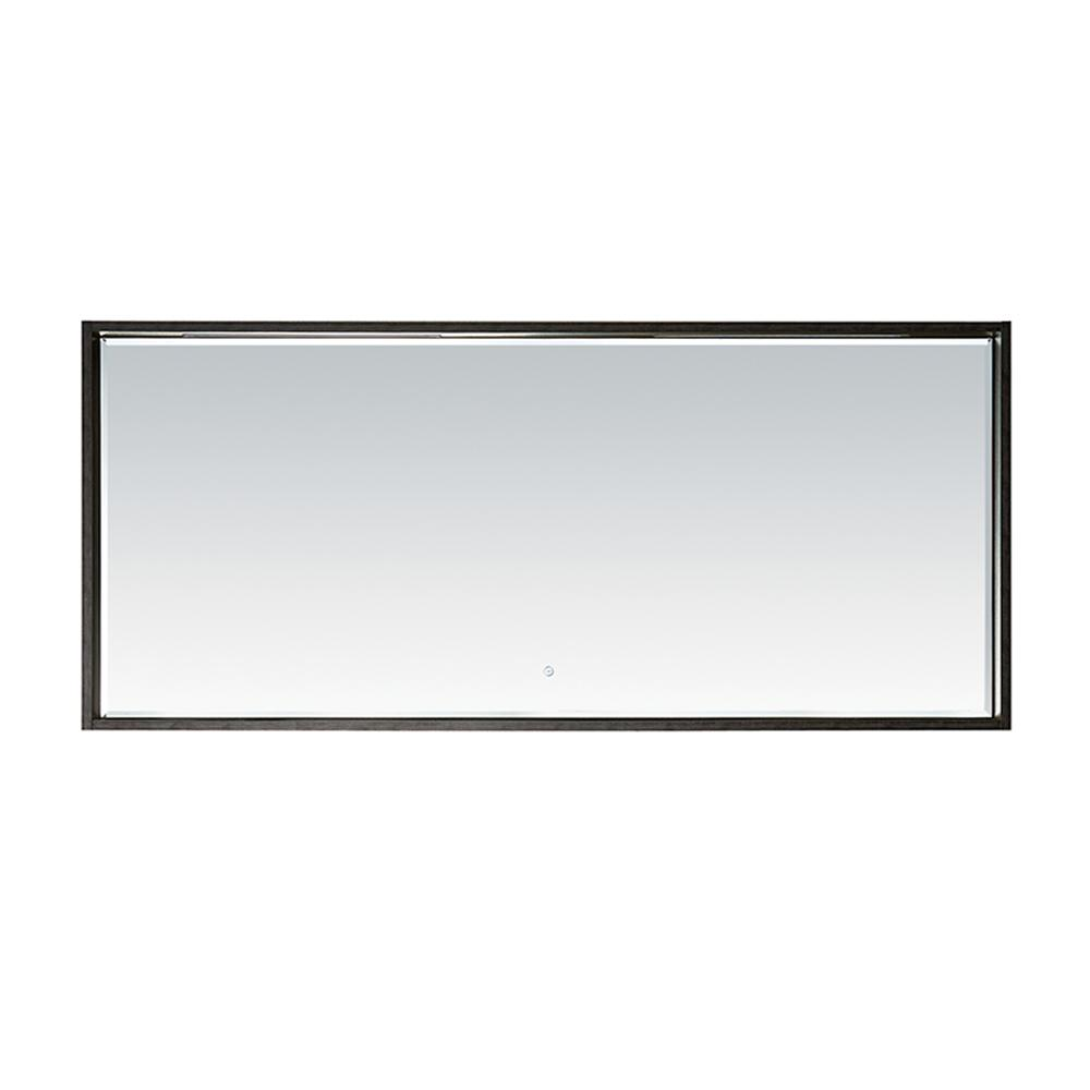 ROSWELL Perma Wood 63 in. W x 28 in. H Single Traditional Framed LED Wall Vanity Mirror in Suede Elegant Grey