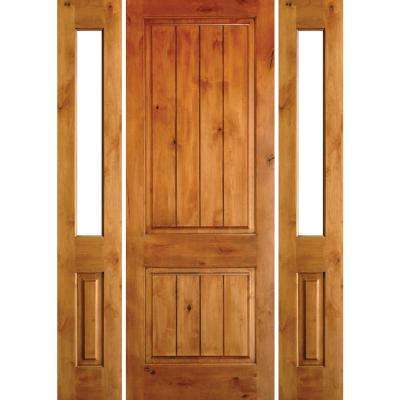 60 in. x 80 in. Rustic Unfinished Knotty Alder Sq-Top VG Wood Right-Hand Half Sidelites Clear Glass Prehung Front Door