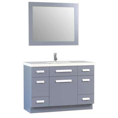 Moscony 48 in. W x 22 in. D Vanity in Gray with Quartz Vanity Top in White with White Basin and Mirror