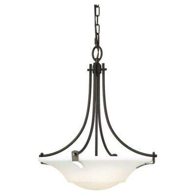 Barrington 18 in. W. 3-Light Oil Rubbed Bronze Uplight Chandelier with Opal Etched Glass Shade
