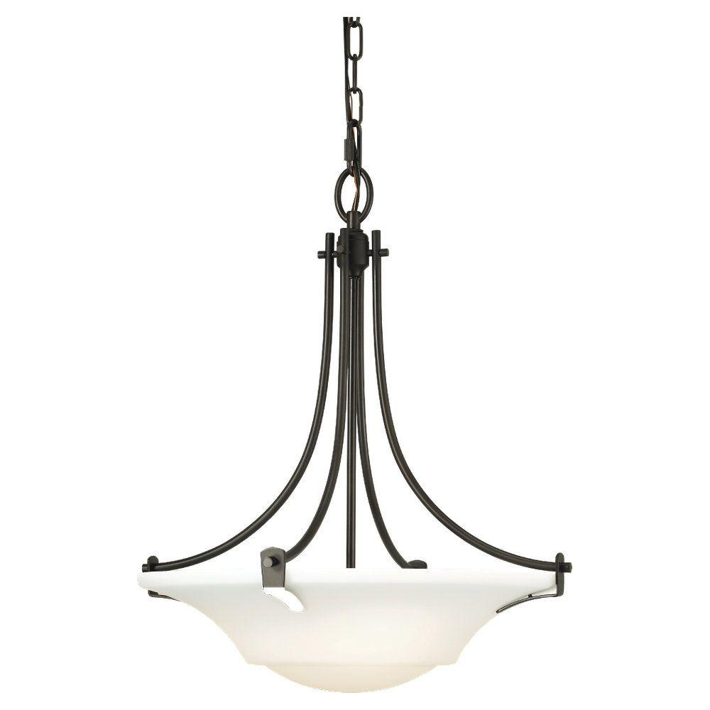 Sea Gull Lighting Barrington 18 in. W. 3-Light Oil Rubbed Bronze Uplight Chandelier with Opal Etched Glass Shade