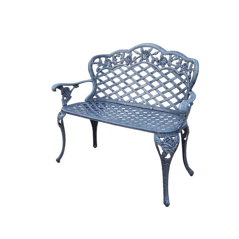 Tea Rose Cast Aluminum Love Seat Patio Bench