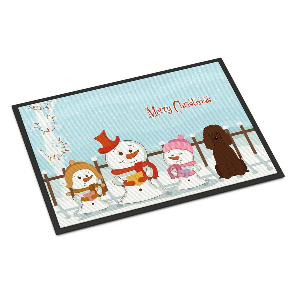 Merry Christmas In Irish.Caroline S Treasures 24 In X 36 In Indoor Outdoor Merry Christmas Carolers Irish Water Spaniel Door Mat