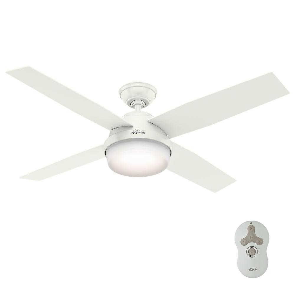 Hunter lighting the home depot led indooroutdoor fresh white ceiling fan with light aloadofball Images