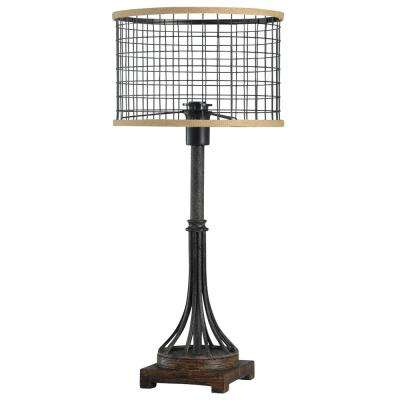 26 in. Bronze/Black Table Lamp with Bronze Metal Shade