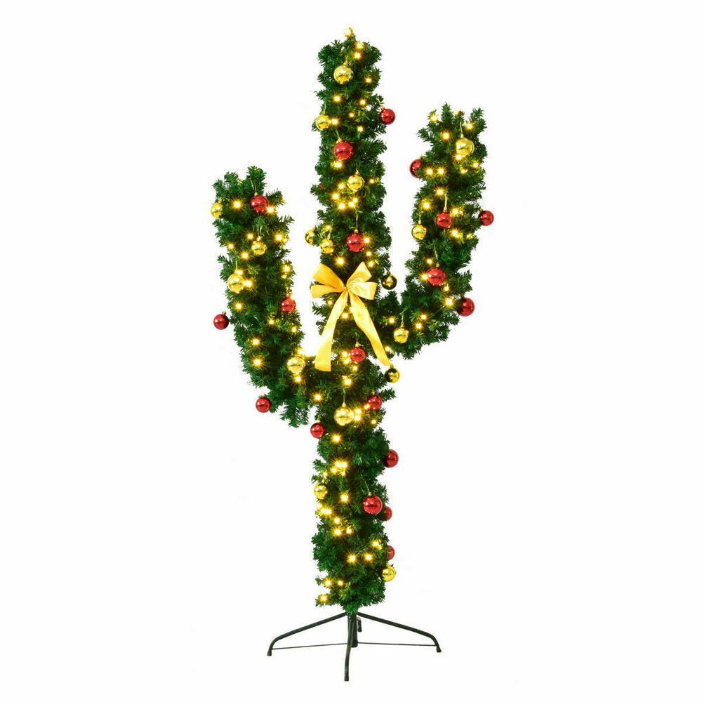 Costway 7 ft. Pre-Lit Cactus Artificial Christmas Tree ...