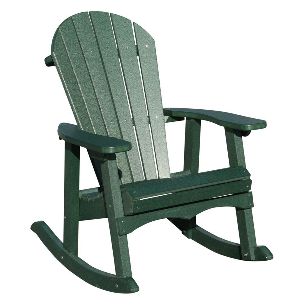 Vifah Roch Recycled Plastics Adirondack Patio Rocker in Green-DISCONTINUED