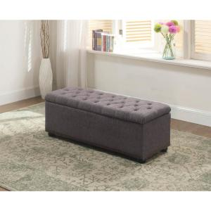 Pleasant 18 In Tufted Grey Storage Bench And 3 Piece Ottoman Seating Ncnpc Chair Design For Home Ncnpcorg