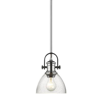 Hines 1-Light Chrome Chandelier with Seeded Glass Shade