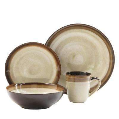 Couture Bands 16-Piece Cream and Brown Dinnerware Set