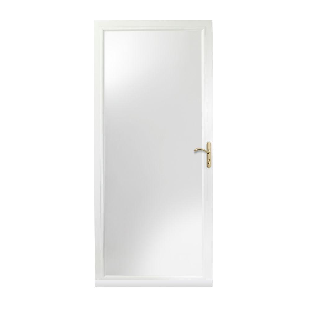 3000 Series White Left Hand Fullview Easy Install Aluminum Storm Door With  Nickel Hardware 3FVNEZL32WH   The Home Depot