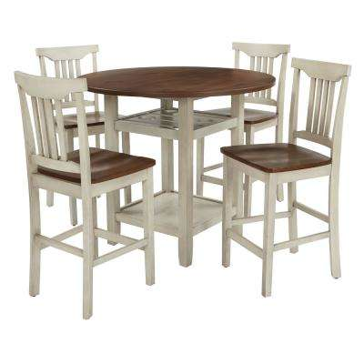 Berkley 5-Piece Set Table Chairs in Antique White with Wood Stain