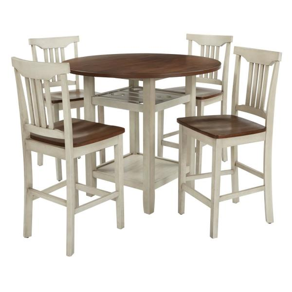 Berkley 5 Piece Set Table Chairs In Antique White With Wood Stain